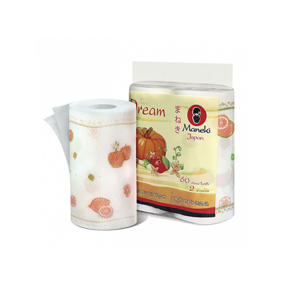 Maneki  Полотенца кухонные бумажные Dream, белые с рисунком, 2 рулона