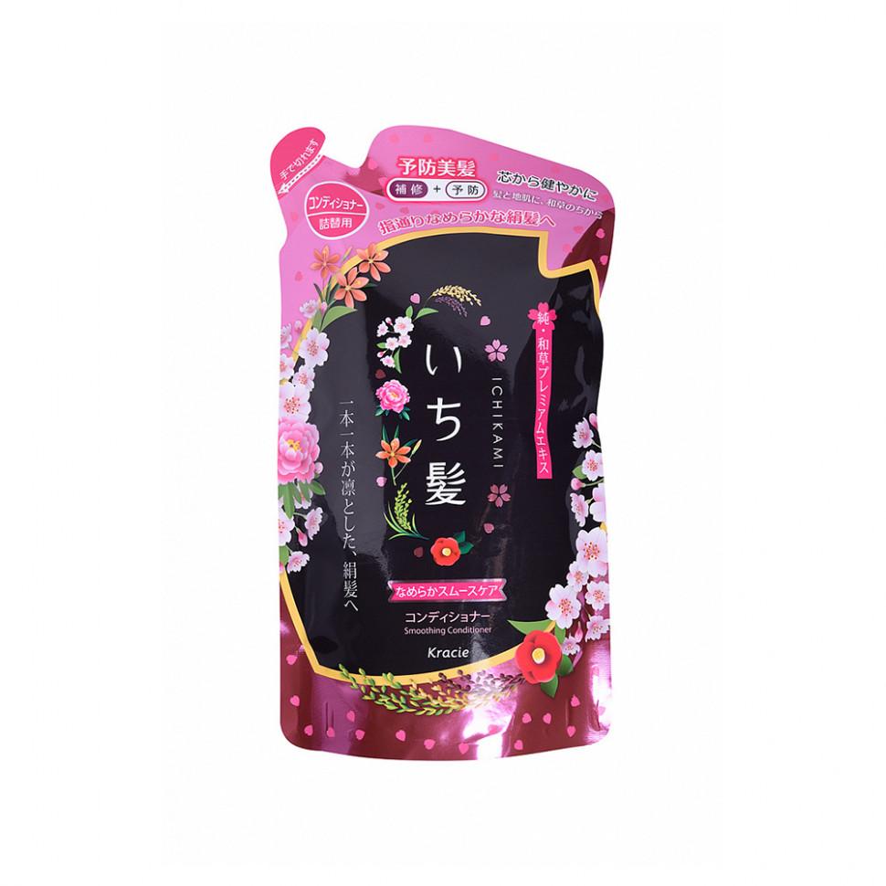 """Kracie """"Ichikami"""" Бальзам-ополаскиватель разглаживающий для поврежденных волос с ароматом горной сакуры, 340 мл"""