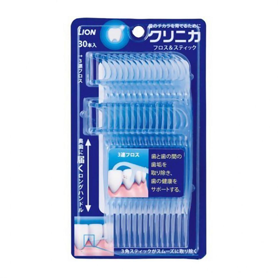 Lion Clinica Floss and Stick Зубочистки с зубной нитью, 30 шт фото