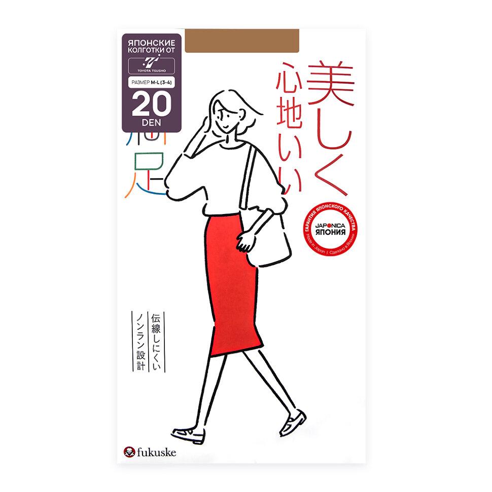 FUKUSKE MANZOKU Колготки женские 20 ден, нюдовый беж, размер M-L (3-4)
