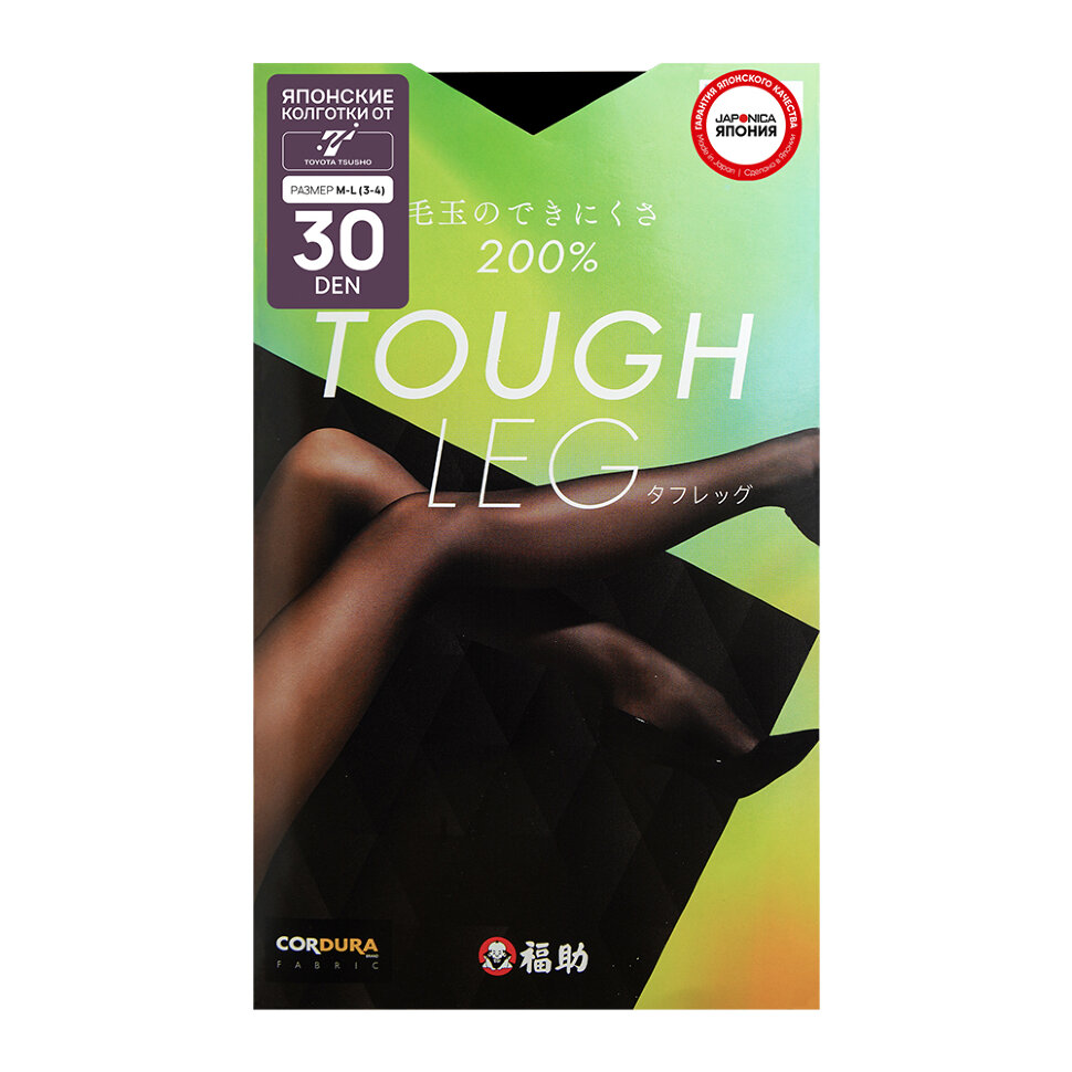 FUKUSKE TOUGH LEG Колготки женские 30 ден, черные, размер M-L (3-4)