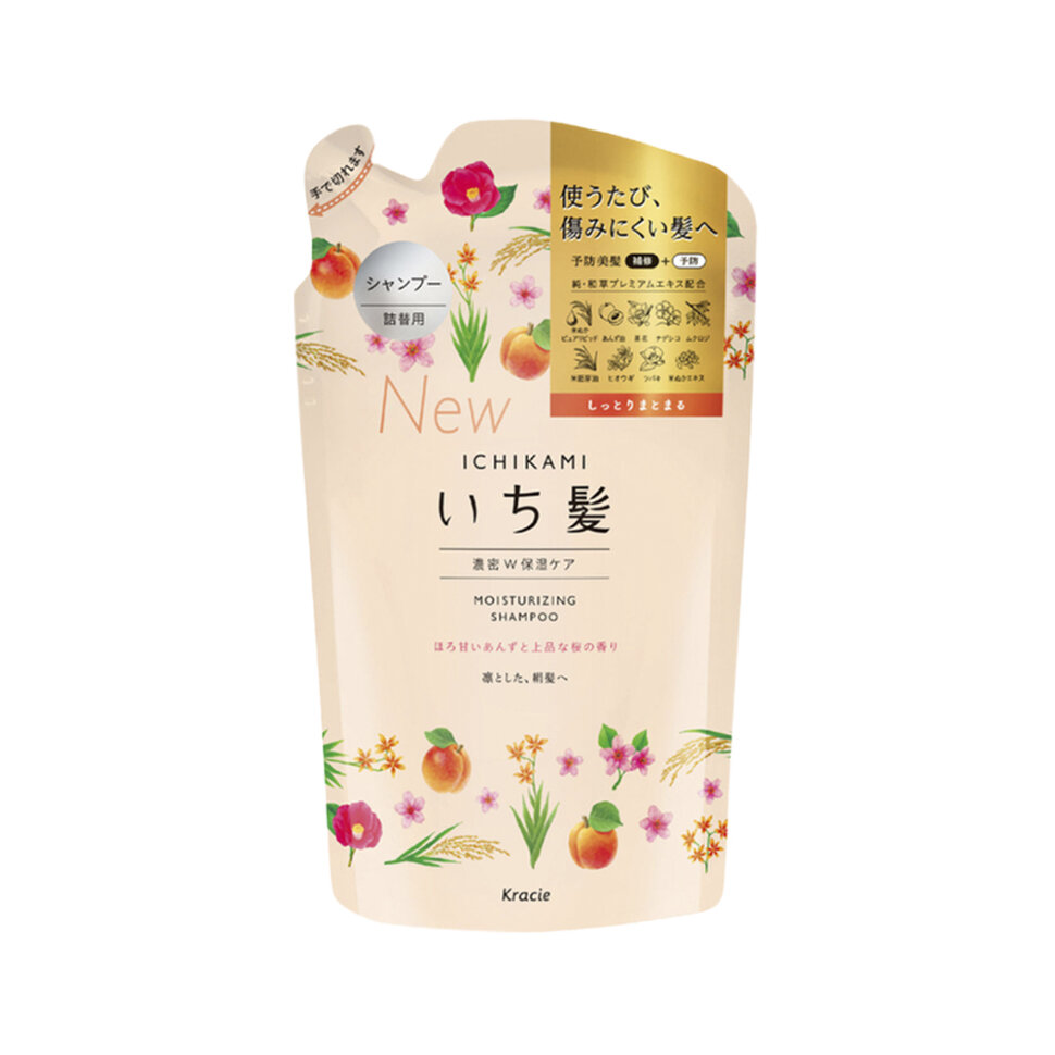Kracie Ichikami  Шампунь интенсивно увлажняющий для поврежденных волос с маслом абрикоса,ЗБ 340 мл