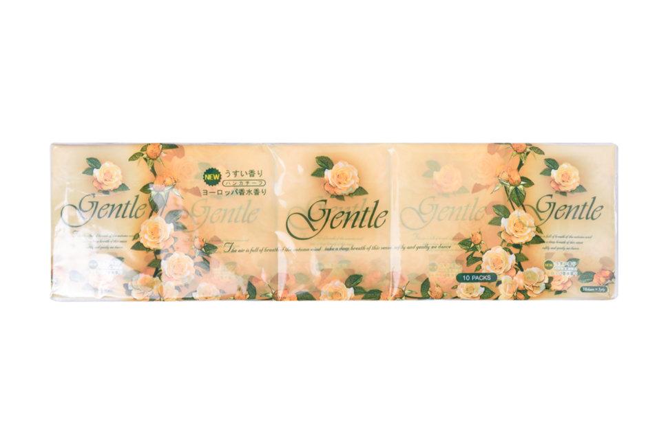 Gentle Бумажные трехслойные платочки с ароматом Европы 10 штук/упак фото