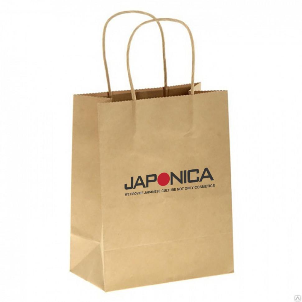 Japonica Брендированный крафт пакет с кручеными ручками 34,5*26*11