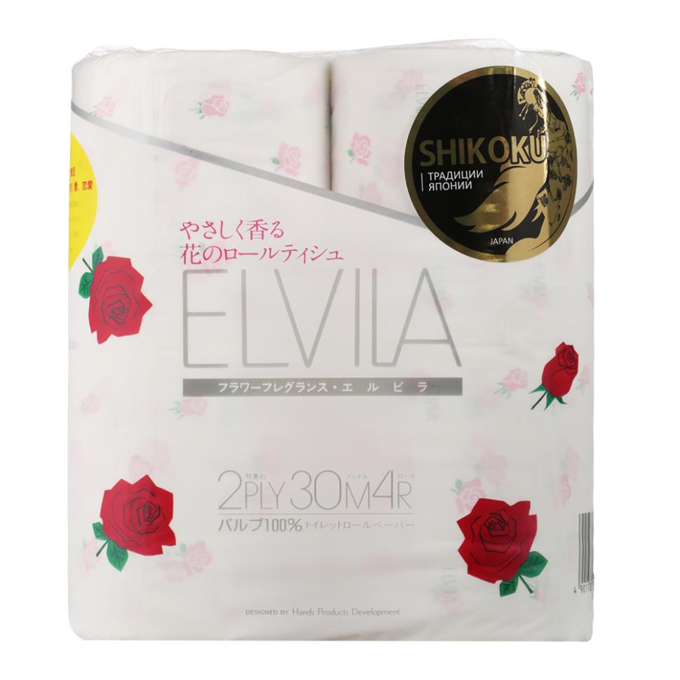 Shikoku Elvila Парфюмированная туалетная бумага  2-х слойная, 4 рулона